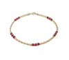 14k GF Dark Faceted Ruby Gemstone Beaded Anklets, July Birthstone Crystal Healing Ankle Bracelets