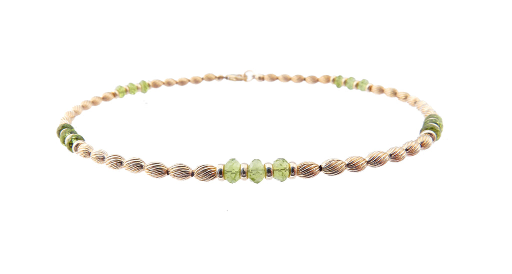 14k Gold-Filled Peridot Anklet | Healing | Protective | Comforting Ankle Bracelet | Healing Crystals Gold Gemstone Anklets - DAMALI by GemstoneGifts Handmade Jewelry