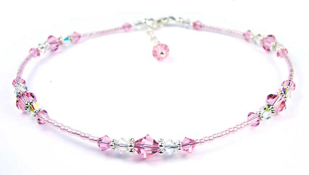 Pink and Silver glass beaded anklet ankle bracelet hand made