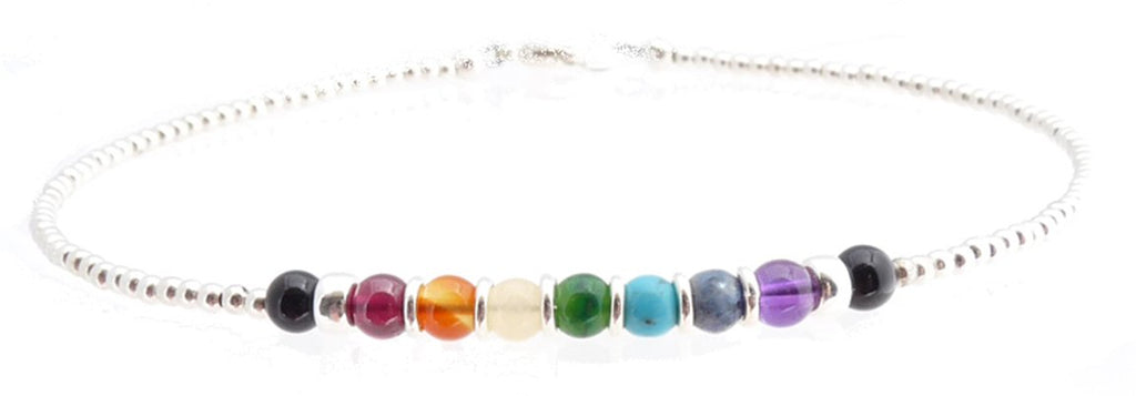 Chakra Anklet Sterling Silver Beaded Gemstone Balancing