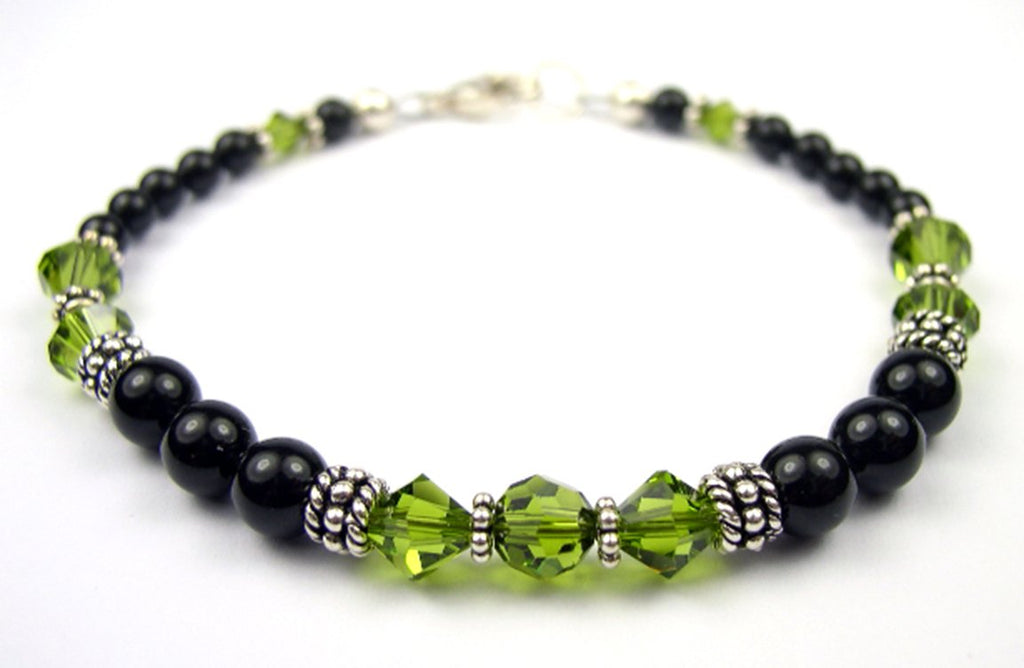 Black Pearl Jewelry: Bracelets w/ Simulated  Green Olivine Accents in Swarovski Crystal Birthstone Colors