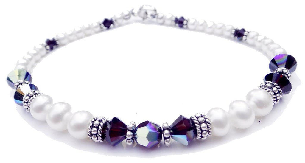 Freshwater Pearl Jewerly: Real Pearl Bracelets Simulated Red Garnet in Swarovski Crystal Birthstone Colors