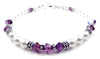 Freshwater Pearl Jewerly: Real Pearl Bracelets Simulated Purple Amethyst in Swarovski Crystal Birthstone Colors