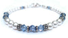 Freshwater Pearl Jewerly: Real Pearl Bracelets Simulated Blue Aquamarine in Swarovski Crystal Birthstone Colors