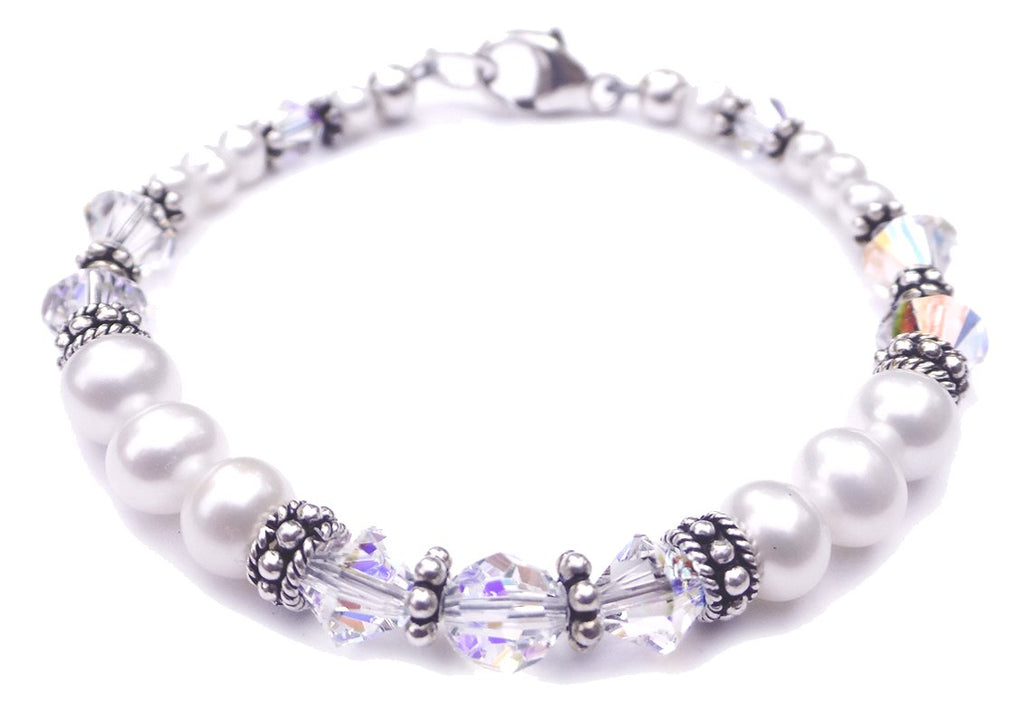 Freshwater Pearl Jewerly: Real Pearl Bracelets Simulated Clear Crystal April in Swarovski Crystal Birthstone Colors