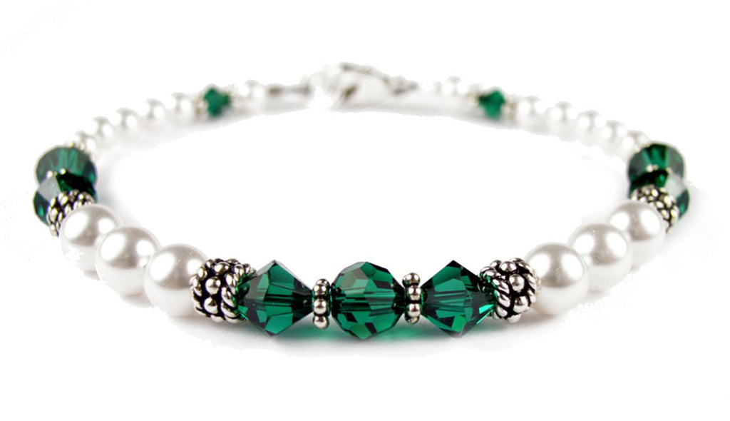 Freshwater Pearl Jewerly  Real Pearl Bracelets Simulated Green Emerald in  Swarovski Crystal Birthstone Colors dfa2c7967a