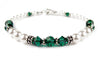 Freshwater Pearl Jewerly: Real Pearl Bracelets Simulated Green Emerald in Swarovski Crystal Birthstone Colors