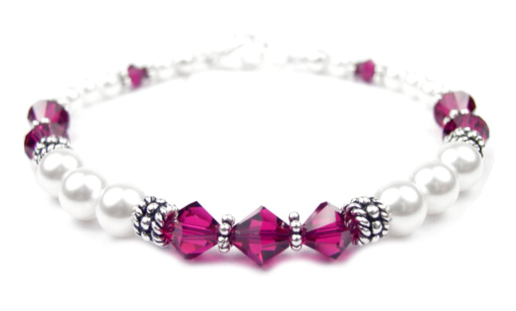 Freshwater Pearl Jewerly: Real Pearl Bracelets Simulated Red Ruby in Swarovski Crystal Birthstone Colors