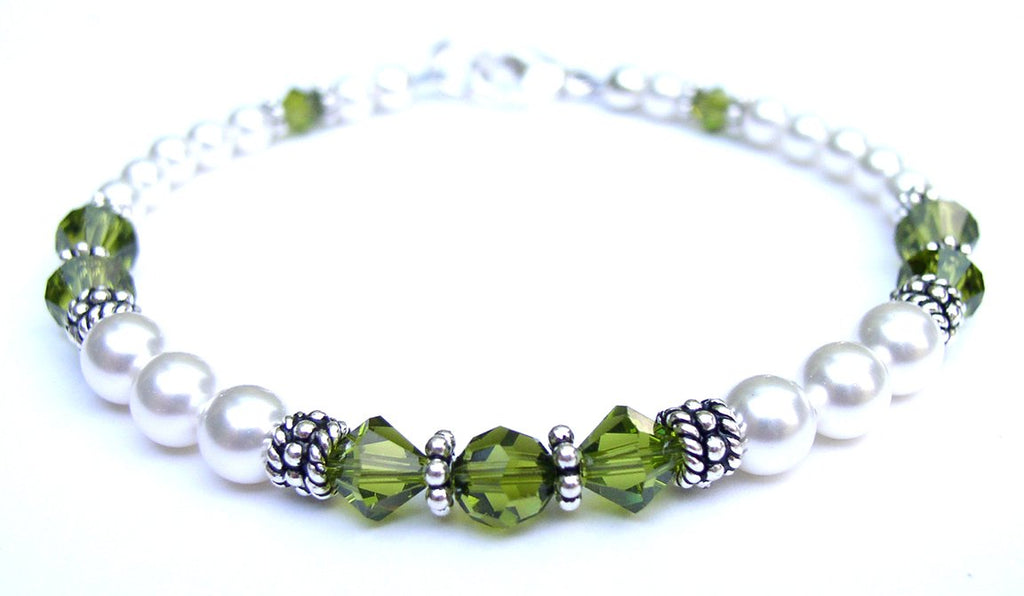 Freshwater Pearl Jewerly: Real Pearl Bracelets Simulated Green Olivine in Swarovski Crystal Birthstone Colors