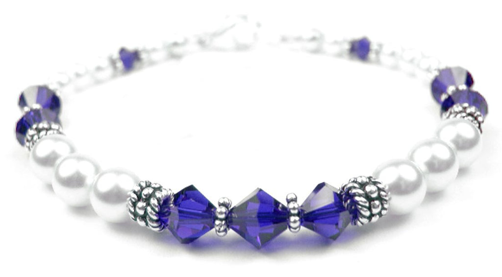 Freshwater Pearl Jewerly: Real Pearl Bracelets Simulated Blue Sapphire in Swarovski Crystal Birthstone Colors