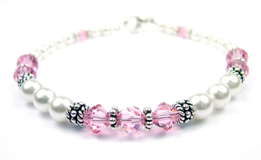 Freshwater Pearl Jewerly: Real Pearl Bracelets Simulated Pink Tourmaline in Swarovski Crystal Birthstone Colors