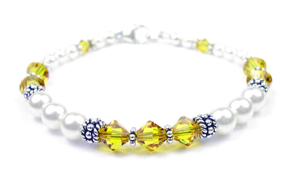Freshwater Pearl Jewerly: Real Pearl Bracelets Simulated Yellow Topaz in Swarovski Crystal Birthstone Colors