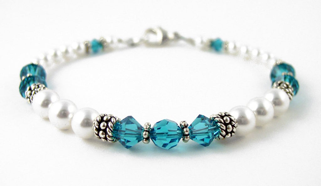 Freshwater Pearl Jewerly: Real Pearl Bracelets Simulated Blue Zircon in Swarovski Crystal Birthstone Colors