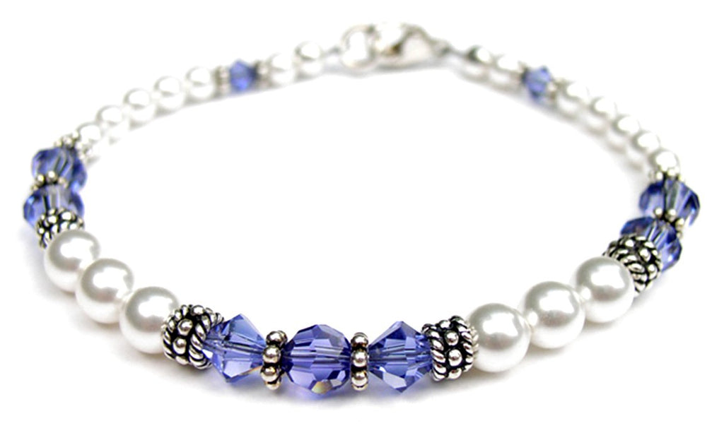 Freshwater Pearl Jewerly: Real Pearl Bracelets Simulated Indigo Tanzanite in Swarovski Crystal Birthstone Colors