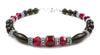 Black Onyx Bracelet w/ Simulated  Red Garnet in Swarovski Crystal Birthstone Colors
