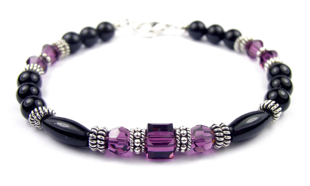 Black Onyx Bracelet w/ Simulated  Purple Amethyst in Swarovski Crystal Birthstone Colors
