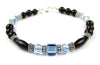 Black Onyx Bracelet w/ Simulated  Blue Aquamarine in Swarovski Crystal Birthstone Colors