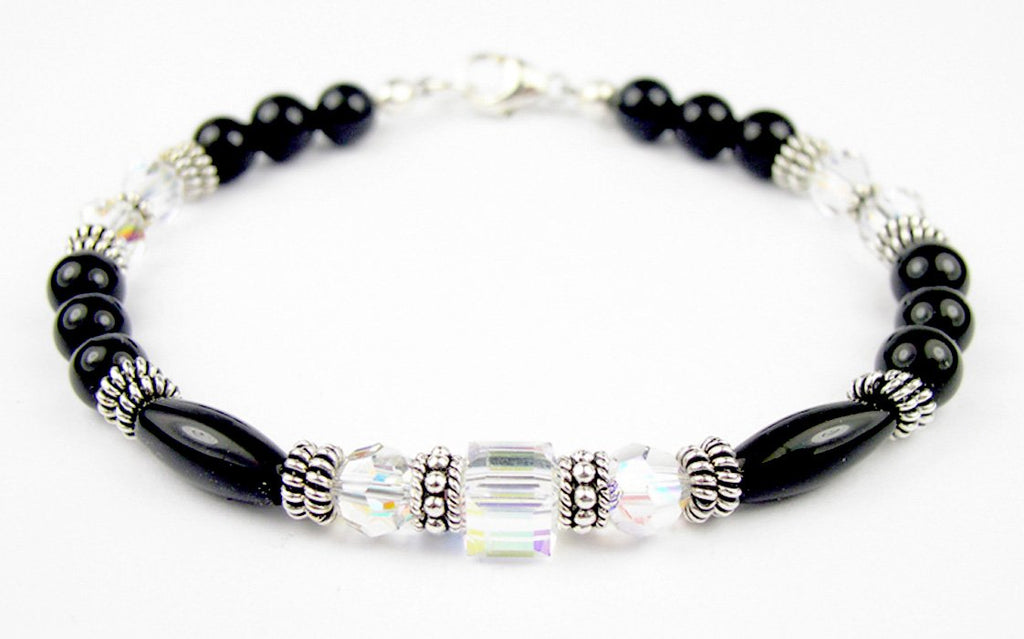 Black Onyx Bracelet w/ Simulated  Clear Crystal April in Swarovski Crystal Birthstone Colors