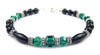 Black Onyx Bracelet w/ Simulated  Green Emerald in Swarovski Crystal Birthstone Colors