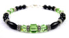 Black Onyx Bracelet w/ Simulated  Green Peridot in Swarovski Crystal Birthstone Colors