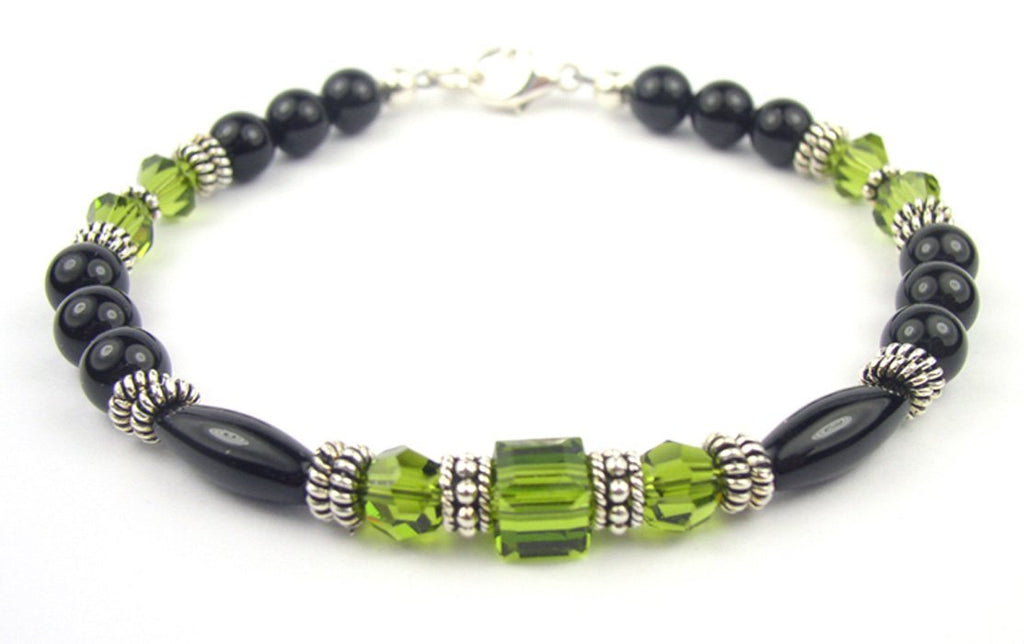 Black Onyx Bracelet w/ Simulated  Green Olivine in Swarovski Crystal Birthstone Colors