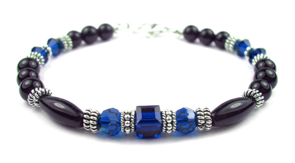 Black Onyx Bracelet w/ Simulated  Blue Sapphire in Swarovski Crystal Birthstone Colors