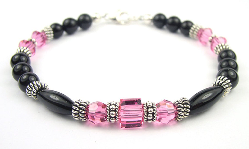 Black Onyx Bracelet w/ Simulated  Pink Tourmaline in Swarovski Crystal Birthstone Colors