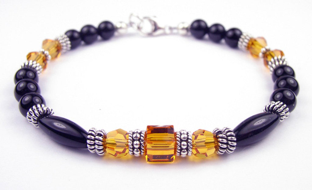Black Onyx Bracelet w/ Simulated  Yellow Topaz in Swarovski Crystal Birthstone Colors
