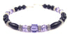 Black Onyx Bracelet w/ Simulated  Indigo Tanzanite in Swarovski Crystal Birthstone Colors