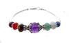 925 Silver Authentic Chakra Bracelet, Gemstone Inspirational Yoga Prayer Mala Intention Bracelet B7006