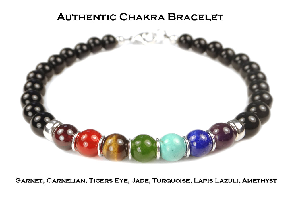Authentic Chakra Bracelet, Unisex Gemstone Inspirational Yoga Prayer Mala Intention Bracelet B7027