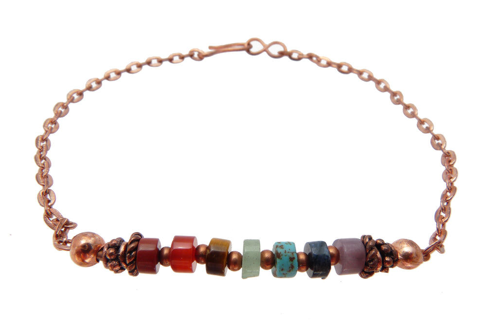 Minimalist Chakra Bracelet, Copper Bracelet,  Gemstone Healing Crystal Intention Jewelry B7029