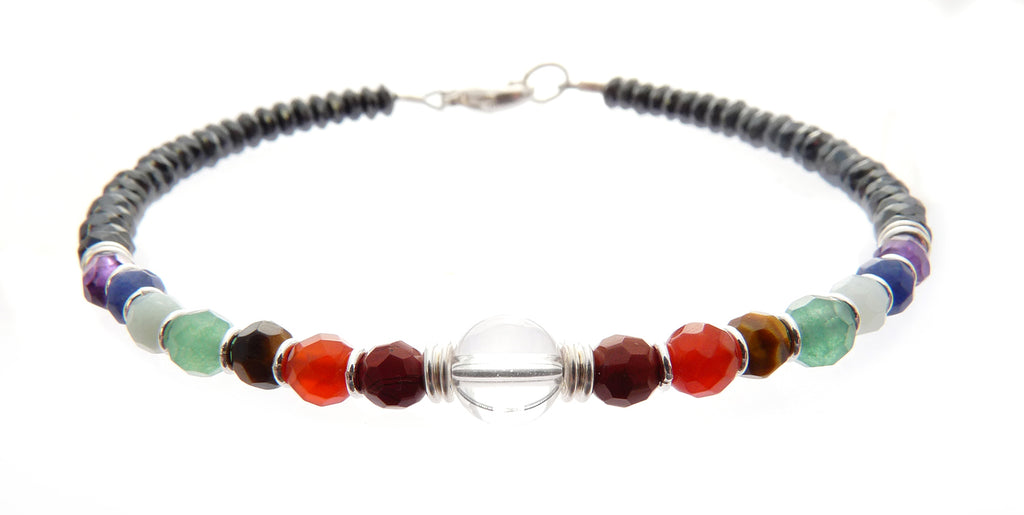 Minimalist Chakra Bracelet, Genuine Gemstones, Beaded Yoga, Reiki, Prayer Mala Bracelet B7033