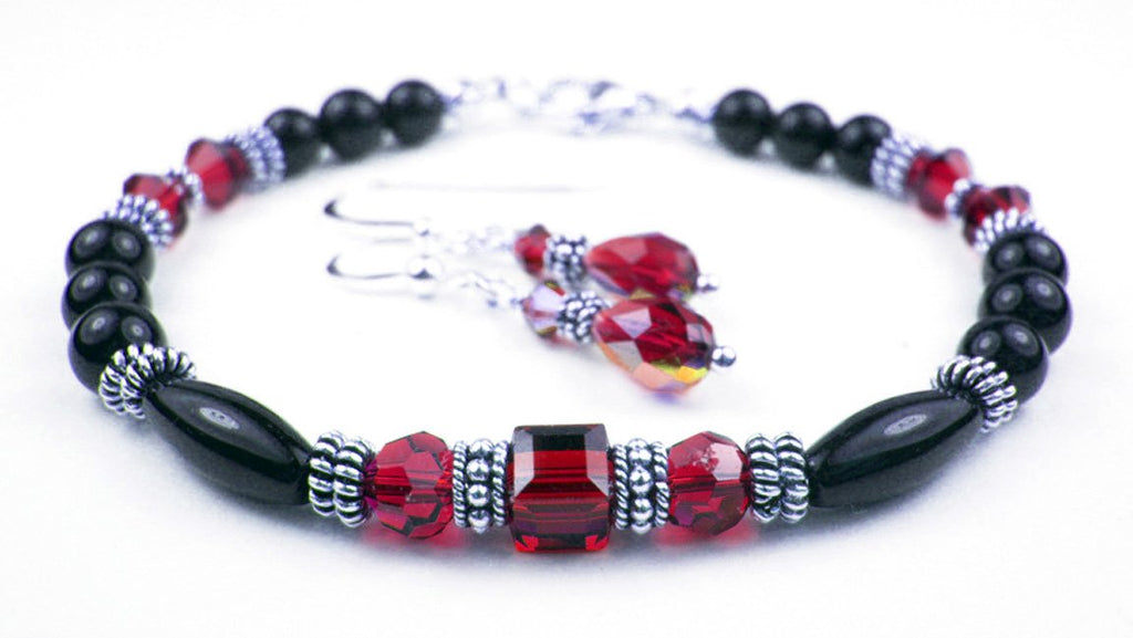 Black Onyx Bracelet and Earrings SET w/ Simulated  Red Garnet in Swarovski Crystal Birthstone Colors