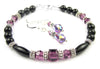 Black Onyx Bracelet and Earrings SET w/ Simulated  Purple Amethyst in Swarovski Crystal Birthstone Colors