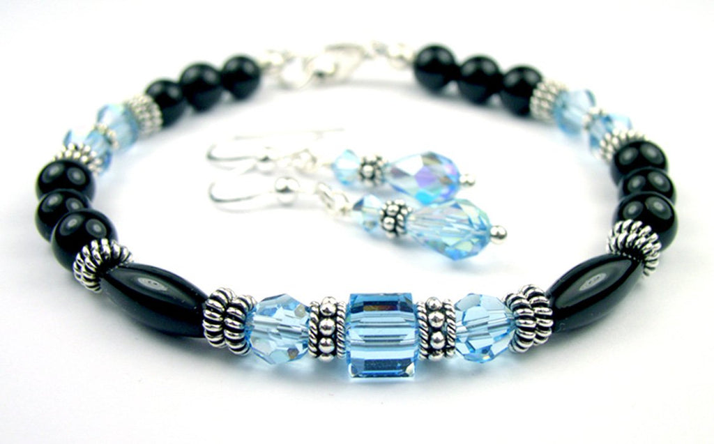Black Onyx Bracelet and Earrings SET w/ Simulated  Blue Aquamarine in Swarovski Crystal Birthstone Colors
