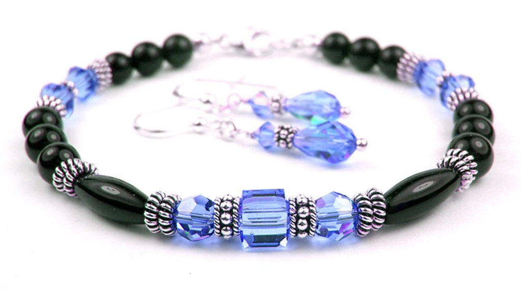 Black Onyx Bracelet and Earrings SET w/ Simulated  Blue Sapphire in Swarovski Crystal Birthstone Colors