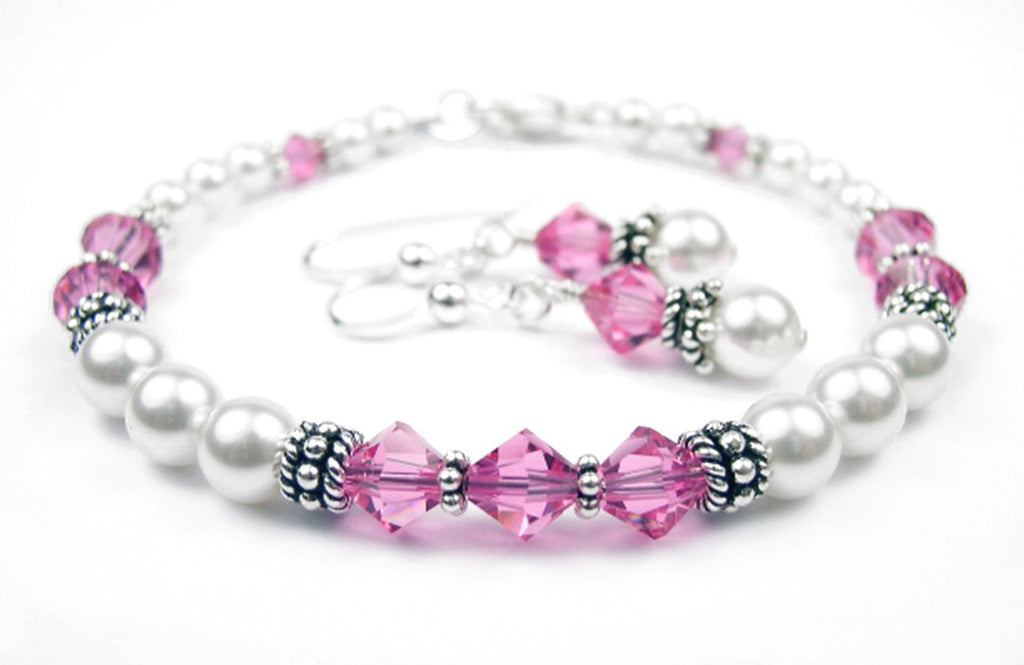 Freshwater Pearl Jewerly Sets: Real Pearl Bracelets Simulated Pink Tourmaline in Swarovski Crystal Birthstone Colors