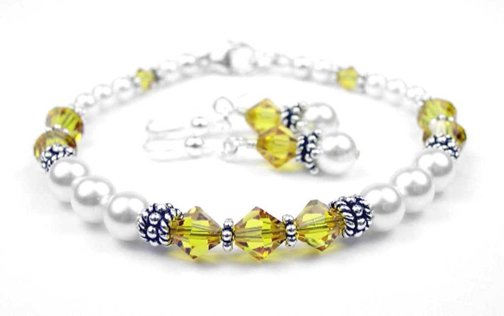 Freshwater Pearl Jewerly Sets: Real Pearl Bracelets Simulated Yellow Topaz in Swarovski Crystal Birthstone Colors