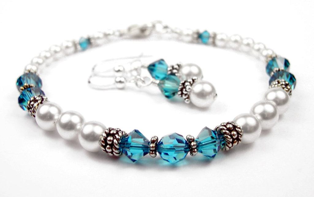 Freshwater Pearl Jewerly Sets: Real Pearl Bracelets Simulated Blue Zircon in Swarovski Crystal Birthstone Colors