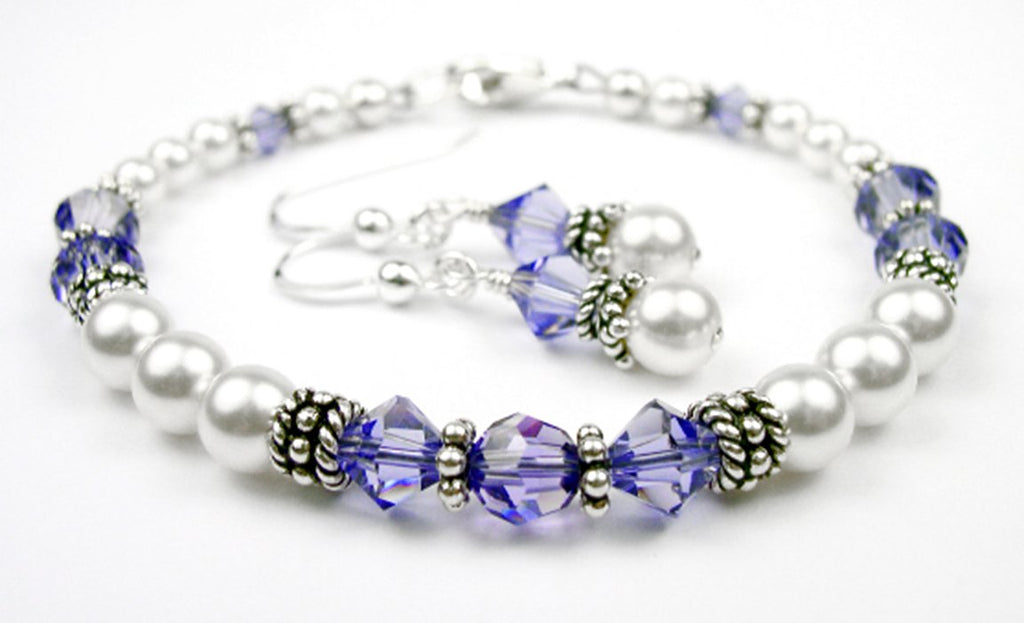 Freshwater Pearl Jewerly Sets: Real Pearl Bracelets Simulated Indigo Tanzanite in Swarovski Crystal Birthstone Colors