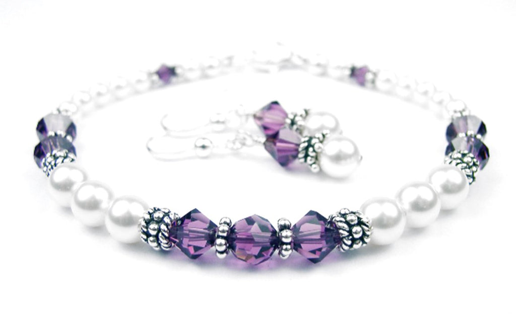 Freshwater Pearl Jewerly Sets: Real Pearl Bracelets Simulated Purple Amethyst in Swarovski Crystal Birthstone Colors