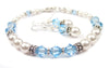 Freshwater Pearl Jewerly Sets: Real Pearl Bracelets Simulated Blue Aquamarine in Swarovski Crystal Birthstone Colors