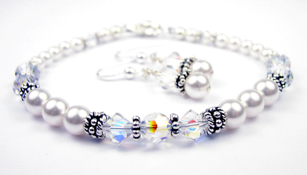 Freshwater Pearl Jewerly Sets: Real Pearl Bracelets Simulated Clear Crystal April in Swarovski Crystal Birthstone Colors