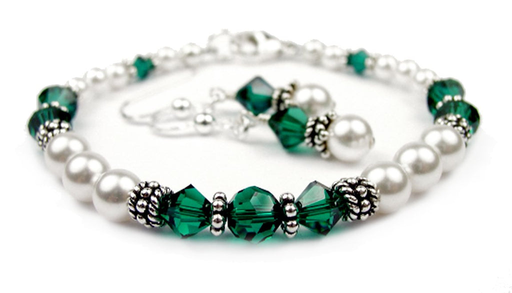 Freshwater Pearl Jewerly Sets: Real Pearl Bracelets Simulated Green Emerald in Swarovski Crystal Birthstone Colors