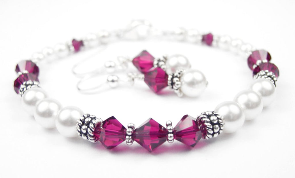 Freshwater Pearl Jewerly Sets: Real Pearl Bracelets Simulated Red Ruby in Swarovski Crystal Birthstone Colors