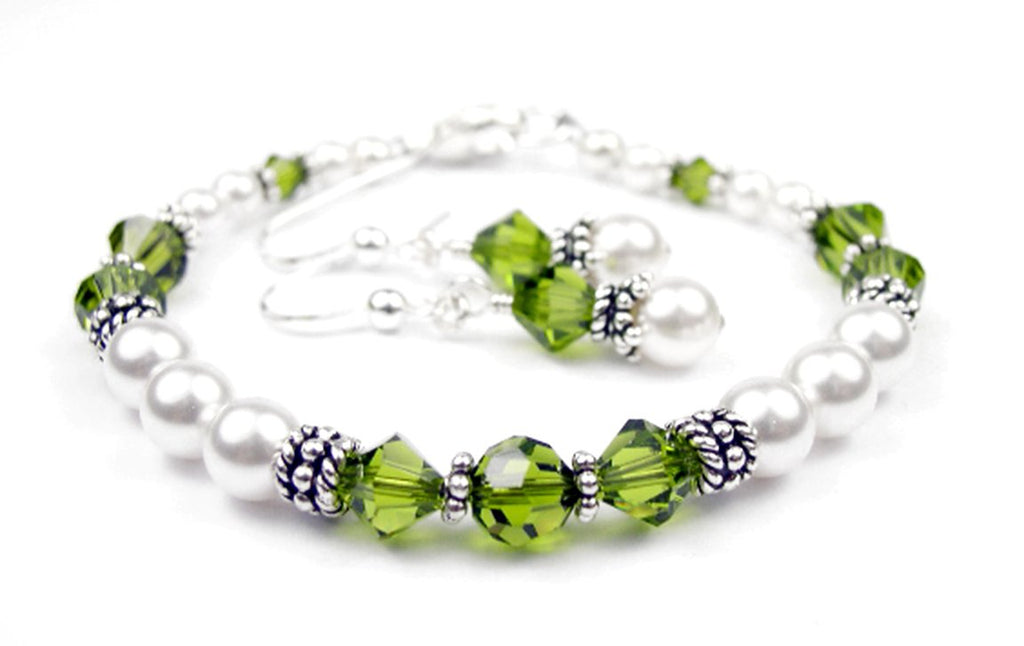Freshwater Pearl Jewerly Sets: Real Pearl Bracelets Simulated Green Peridot in Swarovski Crystal Birthstone Colors