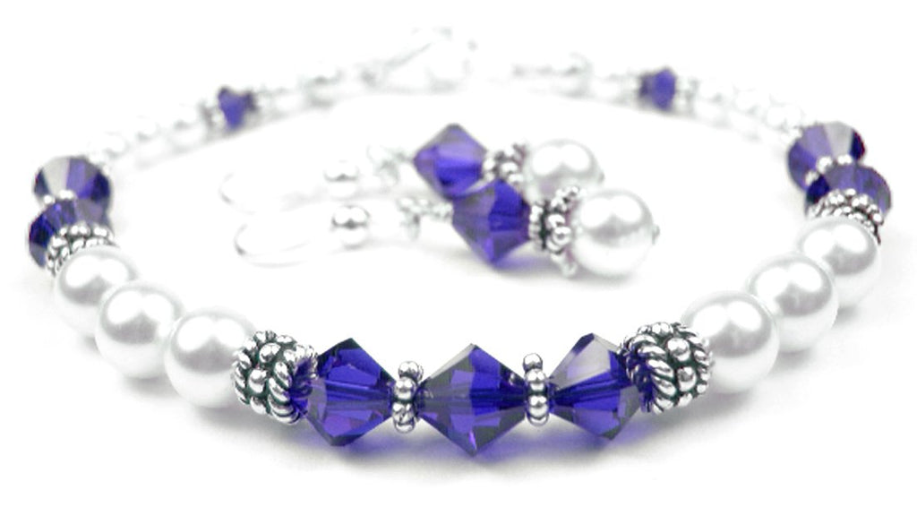 Freshwater Pearl Jewerly Sets: Real Pearl Bracelets Simulated Blue Sapphire in Swarovski Crystal Birthstone Colors
