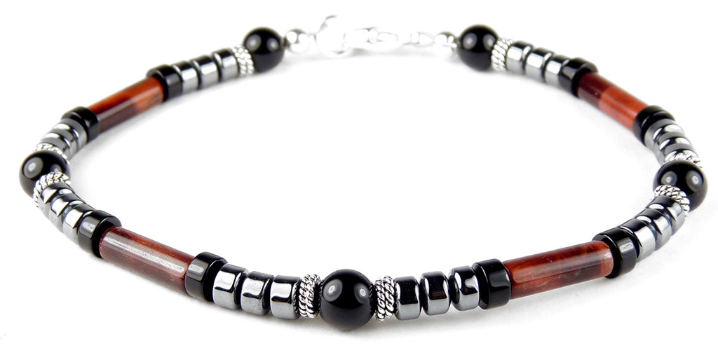 WILL POWER - DISCIPLINE & PERSONAL POWER Solar Chakra Bracelet w/ Red Tiger's Eye Mens Crystal Healing Bracelets - DAMALI by GemstoneGifts Handmade Jewelry