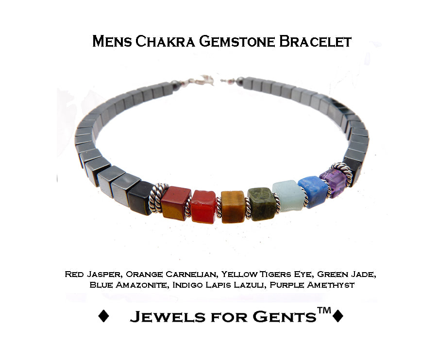 Mens Chakra Bracelets, Handmade 7 Stone Healing Crystals, Intention Jewelry